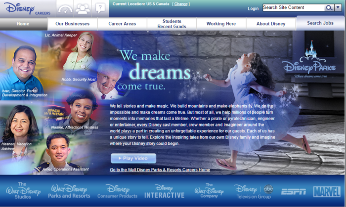 Where can you learn about and apply for jobs at Disney?