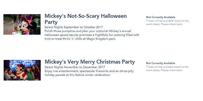 Halloween and Christmas Party Dates